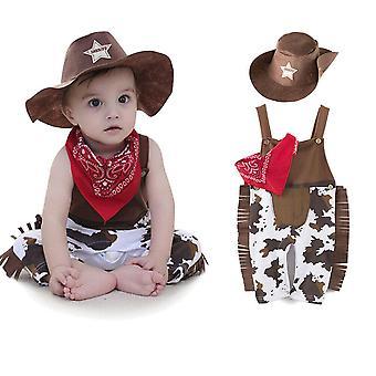 Baby Småbarn Carnival Kläder Set Nyfödda Baby Spädbarn Cowboy Body Scarf Hatt