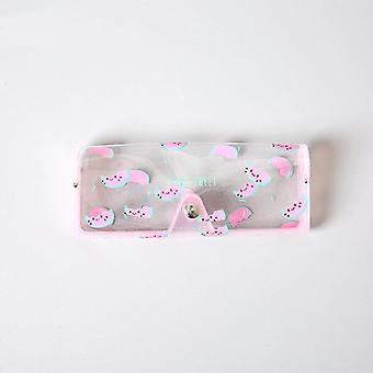 Caixa protetora de óculos de plástico/ caixa de óculos de sol, botão de metal e animal de frutas