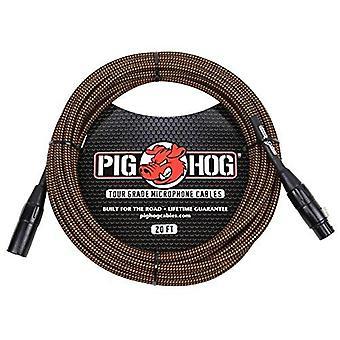 Pig hog phm20org black/orange woven high performance xlr microphone cable, 20 feet