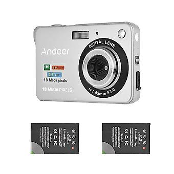 Andoer digital camera with 2pcs batteries, 720p hd 18mp 8x zoom compact camera with 2.7inch lcd scre wof31529