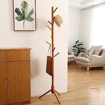 Bamboo Coat Rack Tree with 8 Hooks, Free Standing Wooden Coat Rack, Entryway Coat Hanger Stand, Easy