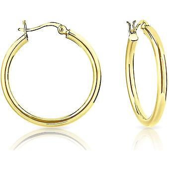 HanFei - Damen - Creolen - Ohrringe 925 Sterling Silber Gelb Vergoldet - Dicke 3 mm - Durchmesser: