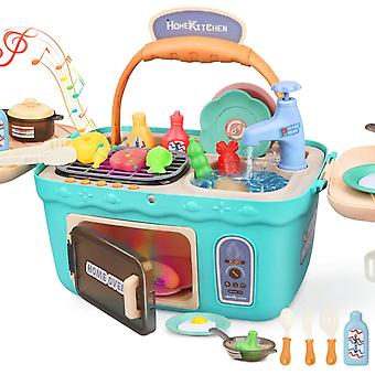 HanFei Spielkche Spielzeug Kinderkche Zubehr Kochset Kinder Picknickkorb mit Musik Licht, Kinder