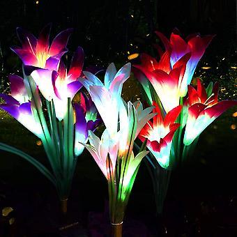 Solarleuchte Garten, 3 stecken Solarleuchten fr Auen, Garten Lampen Lilie Solarlichter mit grerer