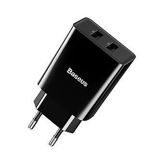 USB Plug Charger - 2 Ports Black