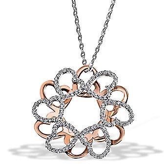 Guldflicka kvinnors halsband oxiderat silver runt Zirconia Cubic White 45cm 2021