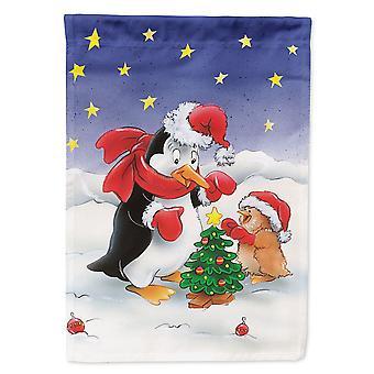 Caroline Schätze Aah7203Gf Pinguin und Robin mit Weihnachtsbaum Garten Flagge, klein, multicolor