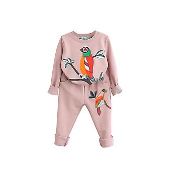5T bird patterns girls clothing sets autumn winter toddler kids tracksuit cai670