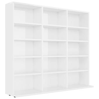 vidaXL CD shelf high gloss white 102x23x89.5 cm chipboard