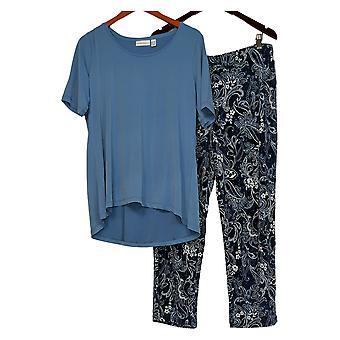 Susan Graver Petite Set Liquid Knit Top and Printed Pants Set Blue A374105