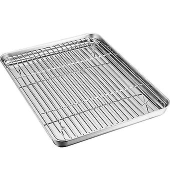 Sheet Baking Pan And Bakeable Nonstick Cooling Rack, Stainless Steel(26*20*2.5cm)