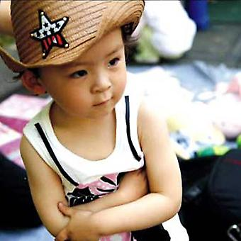 Børn Western Cowboy Straw Sun Hat Vind-bevis Cap Big Wide Brim Sunbonnet