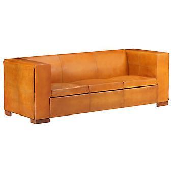 vidaXL 3-Sitzer-Sofa Hellbraun Echtleder