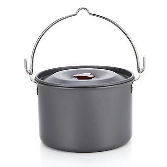 Hot selling outdoor supplies aluminum alloy 4l camping hanging single pot camping picnic soup pot  camping stove