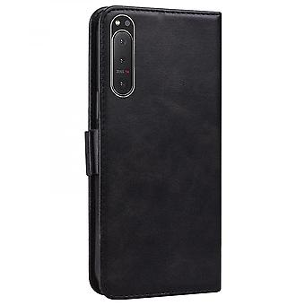 Case For Sony Xperia 5 Ii Wallet Flip Pu Leather Cover Card Holder Coque Etui - Black Cat
