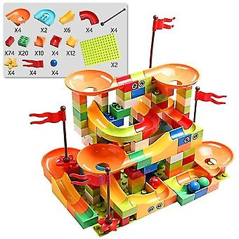 Age 7+ building blocks marble race run city building block toys for children and racing(154)(Multi)