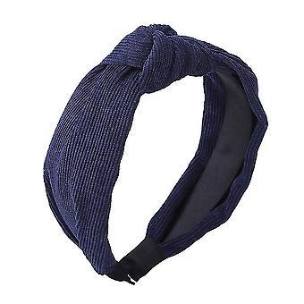 Effen kleuren satijn geknoopte haarbanden (donkerblauw)
