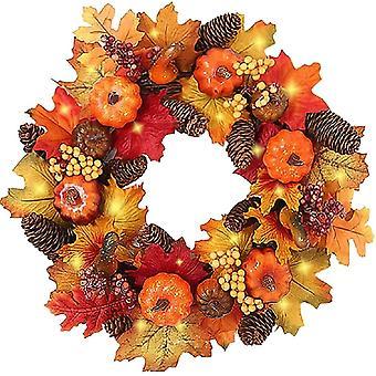 Autumn Wreaths With Led Light Fall Maple Leaf Pumpkin Berry Garland