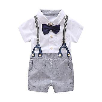 Fiúk keresztelő ruhák csokornyakkendővel, harisnyatartó vászon rövidnadrág 1Set 3Db méret:70 (6-9 hath)