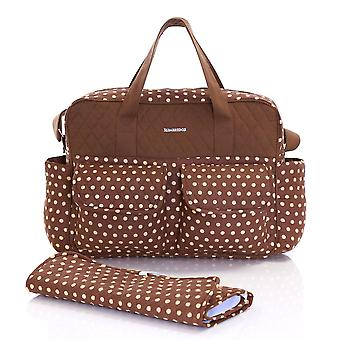 Slimbridge Melrose Baby Tote Bag with Changing Mat, Mocha Dots