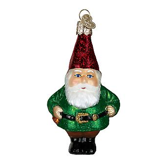 Old World Christmas Funny Little Bearded Garden Gnome Glass Holiday Ornament
