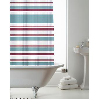 Country Club duschdraperi rand rosa och Teal 180 x 180cm