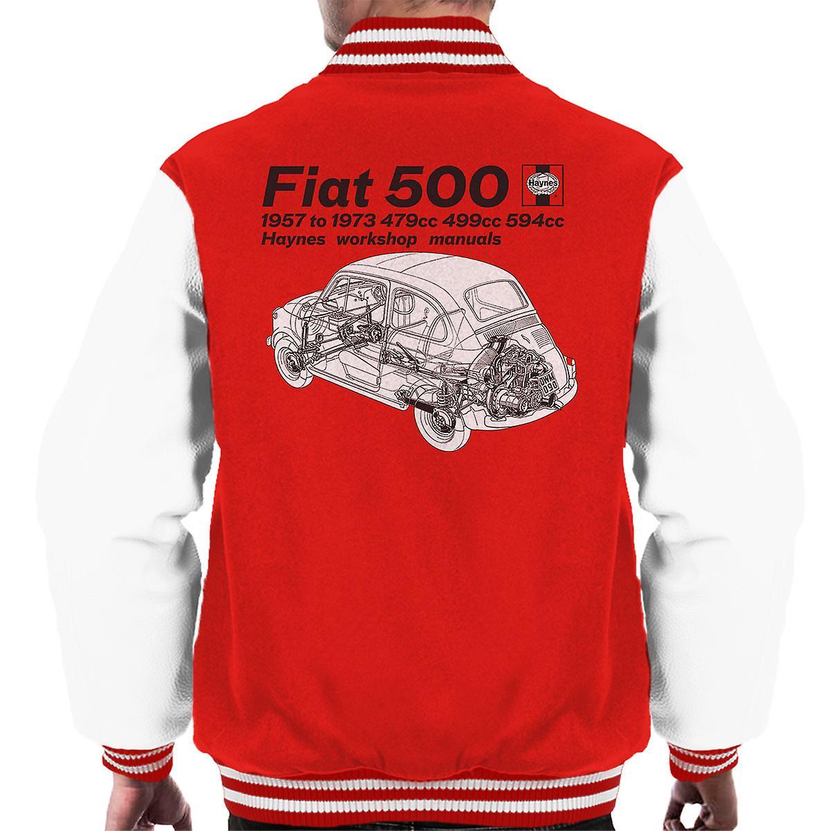 Haynes Werkstatt Handbuch Fiat 500 Männer Varsity Jacke schwarz