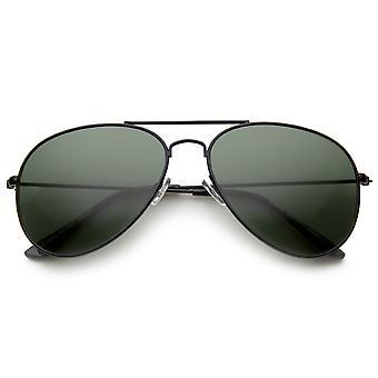 经典眉毛酒吧全金属框架绿色镜头飞行员太阳镜 60 毫米