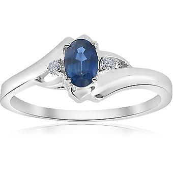 1 / 2ct ovalen blauen Saphir-Diamant-Ring 14K Weissgold
