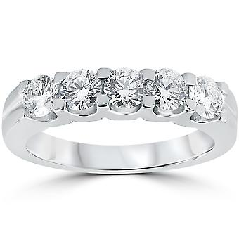 1ct Diamond Wedding Ring Anniversary Stackable Band 14K White Gold