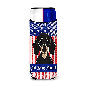 Smooth Black and Tan Dachshund Michelob Ultra beverage Insulator for slim cans