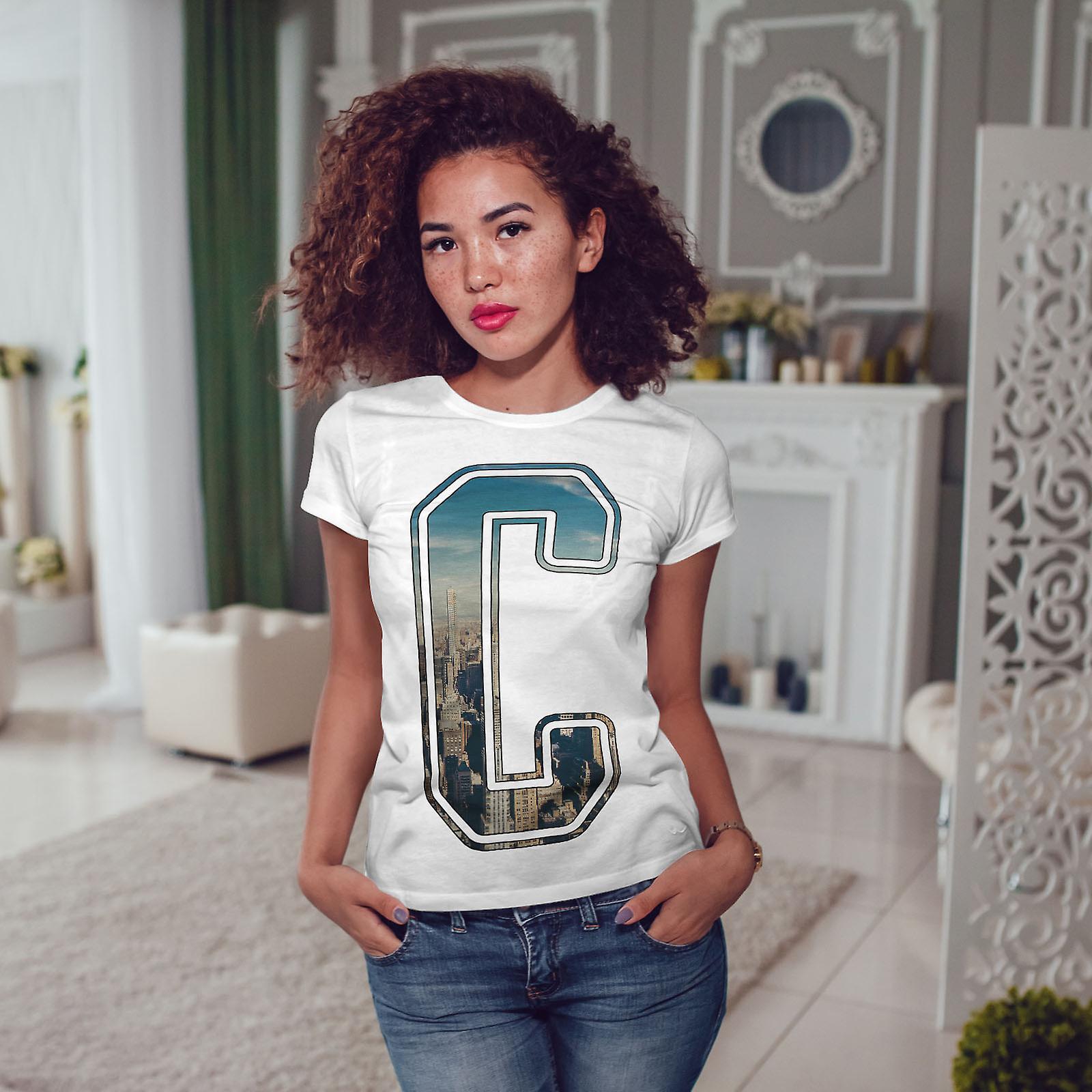 Lettre C ville Art WhiteT-shirt femme | Wellcoda