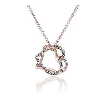 Womens Rose guld dubbel kärlek hjärta halsband