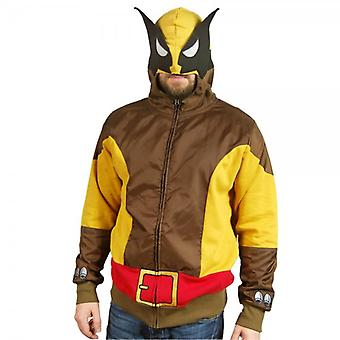 Marvel Comics Mens Brown Wolf Wolverine Costume Hoodie