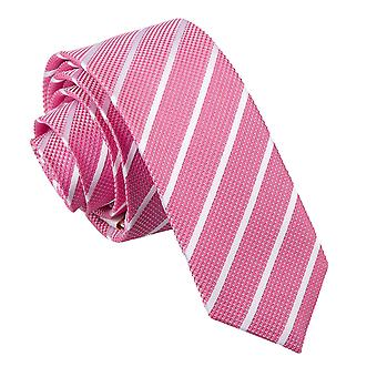 Hot Pink & White Tie chudy jeden pasek