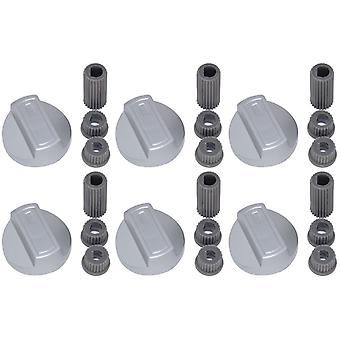 6 X Candy Universal Cooker/Oven/Grill Control Knob And Adaptors Silver