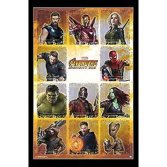 Guerra del infinito Vengadores - Collage Poster Print