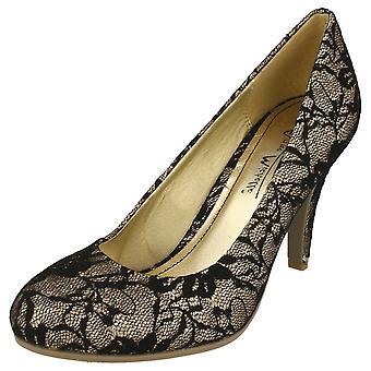 Ladies Anne Michelle Lace Effect Party Shoes