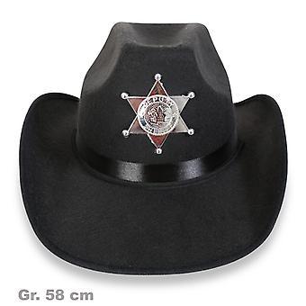 Gwiazda szeryfa kapelusz czarny dziki zachód szeryf