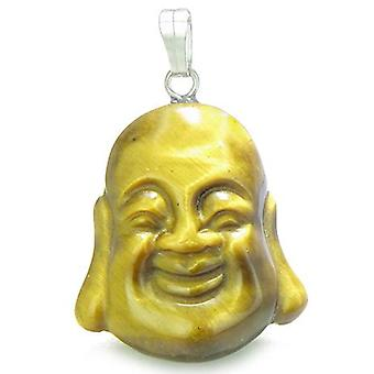 Amulet lykkelig leende Buddha lykkebringer Tiger øye Gemstone onde øyet beskyttelse krefter anheng