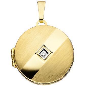一部ロジウム メッキ ペンダント 333 ゴールド イエロー ゴールド ラウンド メダリオン部分的つや消し 1 立方ジルコニア ゴールドのメダイヨン