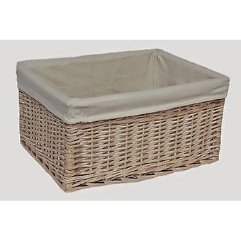 Medium White Lined Storage Basket