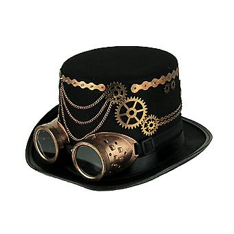 Black Steampunk Top Hat with Copper Colored Gears and Goggles