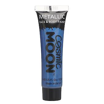 Cosmic Moon - Metallic Face Paint makeup for the Face & Body - 12ml - Create mesmerising metallic face paint designs! - Blue
