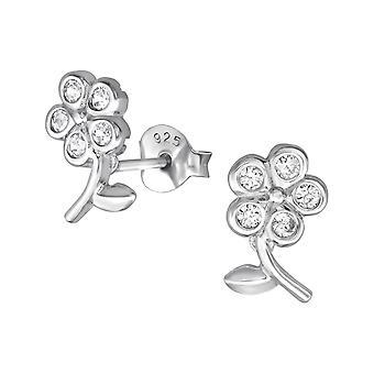Flower - 925 Sterling Silver Cubic Zirconia Ear Studs - W36542x