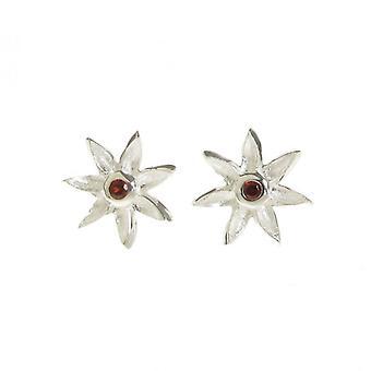 Cavendish French Silver and Garnet CZ Starflower Earrings
