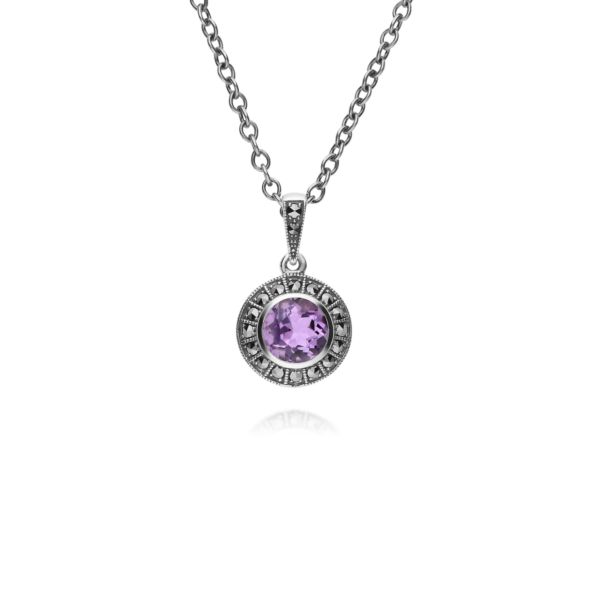 Gemondo Sterling Silver Round Amethyst and Marcasite Cluster 45cm Necklace