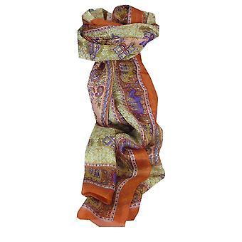 Mulberry soie longue écharpe traditionnelle Rei Tangerine & Purple de Pashmina & soie