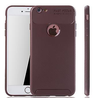 Apple iPhone 6 / 6s Plus Handyhülle Schutzcase Carbon Optik Bumper Braun
