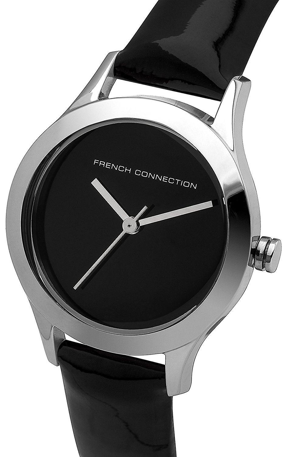 French Connection Womens Wrist Watch Silver Dial Black Leather Strap FC1206BA